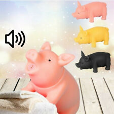 Rubber Pet Dog Puppy Pig Shape Chew Fetch Play Toy Squeaker Squeaky With Sound