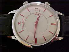 Vintage Outstanding Jumbo Stainless Steel Jaeger Lecoultre Memovox White And Red