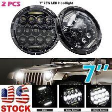 Pair 7 Inch 75W LED Headlight w/ Driving Fog Lights for Jeep Wrangler JK LJ CJ