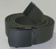"NEW ADJUSTABLE 54"" INCH OLIVE GREEN CANVAS MILITARY WEB BLACK BELT BUCKLE"