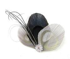 Gris Noir Argent Plume De Paon Fascinator Barrette Vintage 1920s Charleston 689