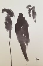 JOSE TRUJILLO - MODERN ABSTRACT EXPRESSIONIST INK WASH ART ORIGINALS FIGURES