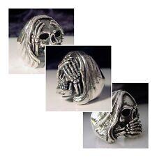 silver 3 Ring Set Hear See Speak no Evil Skull Ring Custom Size Voodoo Occult