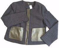Ann Taylor Navy Blue Black Tweed Blazer Jacket with faux leather Sz 14 NWT $179