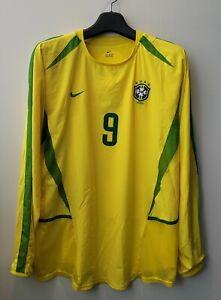 2002 Brazil Home L/S No.9 Ronaldo Dual Layer Player Issue 02 Jersey Shirt Trikot