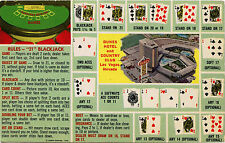 LAS VEGAS, DUNES HOTEL & ORIGINAL VINTAGE PLAYING CARD ADVERTIZING POSTCARD