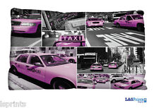 PURPLE TAXI NEW YORK DESIGN SMALL CUSHION IDEAL GIFT CAR TRAVEL ACCESSORY