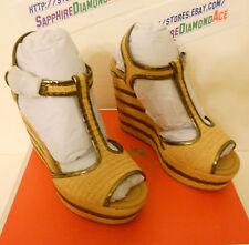 COACH GENEVA WEDGE NATURAL/DARK GOLD Platforms Shoes  A0844 Size 9 M  NEW!