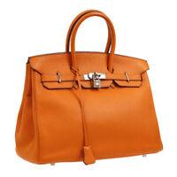 Authentic HERMES BIRKIN 35 Hand Bag Orange Taurillon Clemence Vintage BT15829