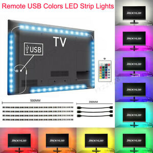 USB TV Backlight LED Strip Lights 5050 RGB Lighting 4 Strips + Remote Control