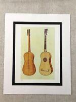 1888 Antique Music Print Guitar Stradivarius Original Victorian Chromolithograph