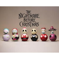 6pcs Set Disney Nightmare Before Christmas Jack Sally Lock Barrel 4cm PVC Figure