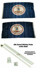 3x5 State of Virginia 2ply Flag White Pole Kit Gold Ball Top 3'x5'