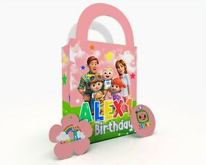 Personalised CoCoMelon Children Party Bag Gift Favour Box Treat Bag Pink