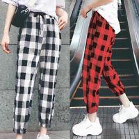 ZANZEA Womens Check Plaid Lace-up Harem Pants Ladies Casual Loose Trousers Plus