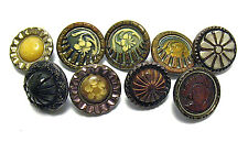 ANTIQUE METAL CELLULOID BUTTON LOT OF 9 PIECES