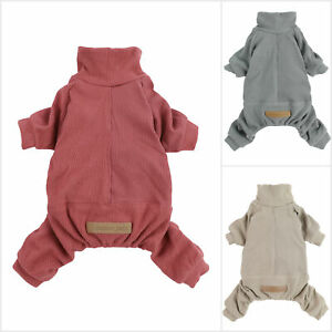 Fitwarm Patchwork Dog Pajamas Lightweight Knitted Dog Clothes Turtleneck PJS