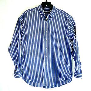 Ralph Lauren Polo Men's Lg Blake L/S Blue/White Striped Button Down Dress Shirt