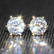 3.80 Ct Round Cut Sparkle Moissanite Solitaire Stud Earrings 14K Y Gold Finish