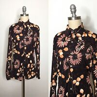 Vintage 70s Kennedy's Brown Polyester Button Down Size Large