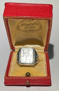 ANTIQUE MEN's SILVER RING in MARGRAF & CO., BERLIN BOX -OWNED BY HERMAN REISSIG?