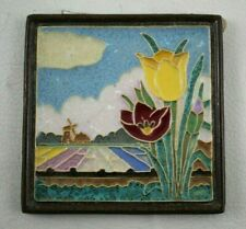 VTG Delft Ceramic Tile TULIP Fields Porceleyne Fles Arts & Crafts Cloisonne