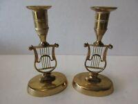 Pair Vintage V. Fong Grenna Solid Brass Harp Candlesticks Sweden Candle Holders