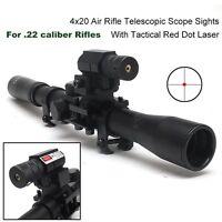 UK4x20 Air Gun Rifle Optics Scope +20mm Rail Mounts +Red Laser Sight For Hunting