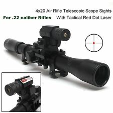 New Telescope 4X20 Air Rifle Optics Scope Tactical Hunting +Red Laser Sight