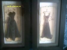 Framed Art -(2) Ladies Evening Gowns - Each in a black shadow box / 3D frame