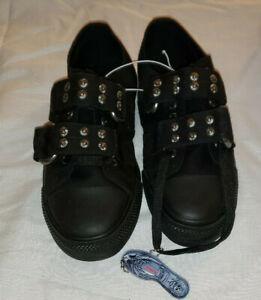 DEMONIA Deviant-12 Unisex Men's Lace-Up Silver Rivets Sneakers Mens 8 Womens 10