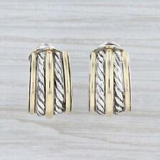 David Yurman Cable Partial Hoop Earrings Sterling Silver 18k Gold Omega Backs