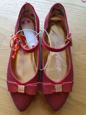 BNWT Girls Baker By Ted Baker Red Glitter Shoes UK 3