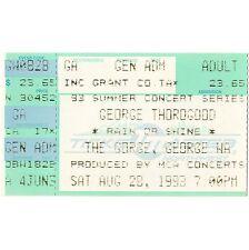 George Thorogood Concert Ticket Stub George Wa 8/28/93 Gorge Bad To The Bone