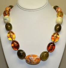 """JOAN RIVERS GOLD PLATED SHADES OF AMBER OVAL RESIN BEAD 24"""" NECKLACE NEW"""