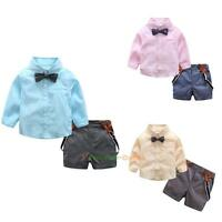 2pcs Toddler Baby Boys Kids Shirt Tops+Short Pants Clothes Outfits Gentleman Set