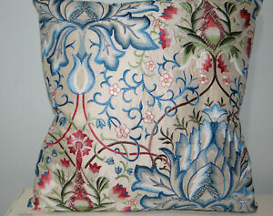 "William Morris, Artichoke fabric, Embroidered Silk, cushion cover, 18x18"""