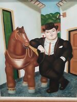 """Botero Style Oil Painting """"Man and a Horse"""" Artist Rendition 20"""" x 24"""" Framed"""