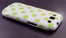 Samsung Galaxy S3 i9300 bianco con punti verdi pelle caso coprire MACCHIE Polka
