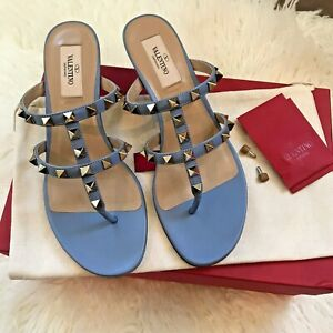 NIB VALENTINO GARAVANI Rockstud Kitten-Heel Slide Sandals Size EU 36.5/ US 6.5