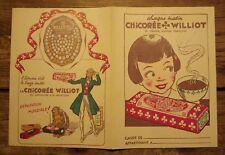 Ancien protège cahier publicitaire chicorée Williot rabat version 1