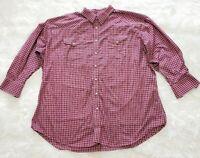 Panhandle Slim Men's Pearl Snap Long Sleeve Western Shirt Red Plaid - Size 20 35