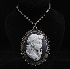 """24"""" Vintage Style Sugar Skull Lady with Owl Cameo Pendant Necklace"""