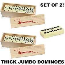 SET OF 2 - BIG PREMIUM JUMBO DOUBLE SIX DOMINOES DOMINO THICK WOOD CASE