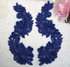 """0180 ~ BLUE MIRROR PAIR SEQUIN BEADED APPLIQUES SEWING CRAFT MOTIFS 8.25"""""""