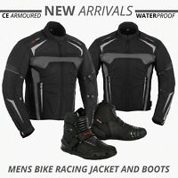 Motorcycle Motorbike Mens Jacket Waterproof Textile CE Armoured Boot Biker Shoes