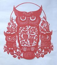 Red Owls Paper Cut from Portugal