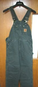 CARHARTT R27 MOS BIBS OVERALLS QUILT LINED SANDSTONE NEW WITH TAGS