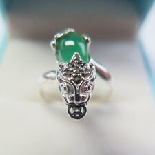 Real 925 Sterling Silver With Oval Green Chalcedony Pixiu Ring Size 7