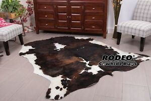 Dark brindle  RODEO Cowhide Rug size approx XL 6x7 ft